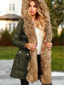 Army Green Patchwork Faux Fur Pockets Hooded Parka Cardigan Coat