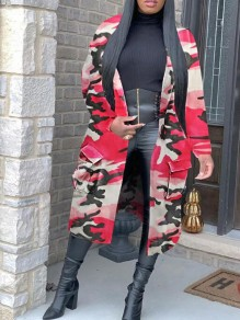 Pink Camouflage Print Turndown Collar Pockets Casual Trench Coat