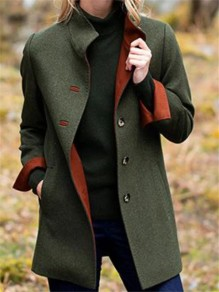 Green Patchwork Buttons Pockets Going out Jacket