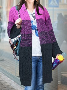 Purple Striped Long Sleeve Going out Cardigan Sweater