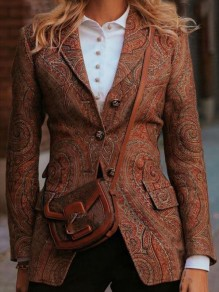 Brown Floral Buttons Tailored Collar Going out Blazer