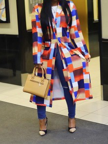 Multicolor Plaid Buttons Pockets Turndown Collar Going out Trench Coat