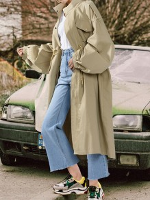 Khaki Patchwork Pockets Drawstring Band Collar Going out Trench Coat