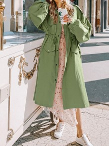 Green Patchwork Pockets Drawstring Band Collar Going out Trench Coat