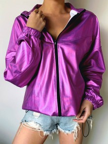 Purple Zipper Band Collar Reflective Fashion Outerwear Jacket