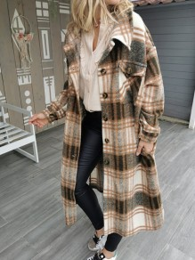 Coffee Plaid Buttons Pockets Turndown Collar Outerwear Wool Coat