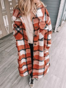 Orange Plaid Buttons Pockets Turndown Collar Outerwear Wool Coat