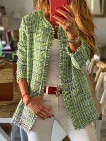Green Plaid Long Sleeve Elegant Outerwear Wool Coat