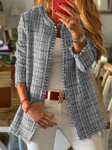 Grey Plaid Long Sleeve Elegant Outerwear Wool Coat