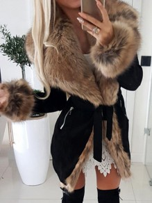 Black Faux Fur Long Sleeve Elegant Outerwear Coat