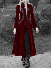 Burgundy Single Breasted Embroidery Pleuche Band Collar Cosplay Vintage Trench Coat