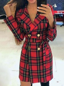 Red-Black Plaid Flannel Double Breasted Turndown Collar Christmas Elegant Trench Coat