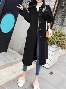 Black Patchwork Buttons Pockets Going out Wool Coat