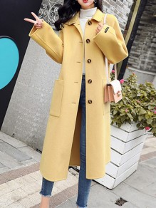 Yellow Patchwork Buttons Pockets Going out Wool Coat