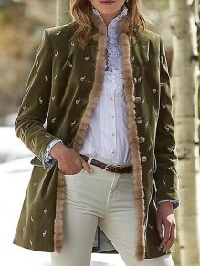 Green Floral Buttons Pockets Band Collar Fashion Jacket