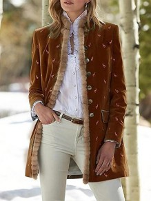 Brown Floral Buttons Pockets Band Collar Fashion Jacket