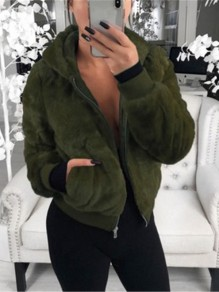 Green Patchwork Zipper Pockets Hooded Going out Coat