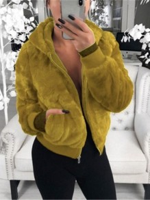 Yellow Patchwork Zipper Pockets Hooded Going out Coat