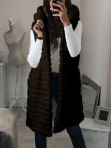 Brown Patchwork Sleeveless Hooded Honey Girl Fur Coat