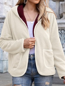 White Patchwork Pockets Long Sleeve Hooded Going out Coat