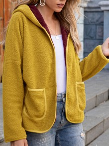 Yellow Patchwork Pockets Long Sleeve Hooded Going out Coat