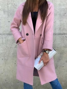Pink Patchwork Buttons Pockets Turndown Collar Going out Wool Coat