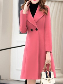 Pink Patchwork Buttons Turndown Collar Going out Wool Coat