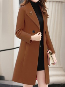 Coffee Patchwork Buttons Turndown Collar Going out Wool Coat