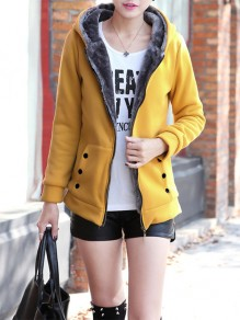 Yellow Patchwork Zipper Pockets Plus Size Hooded Going out Jacket