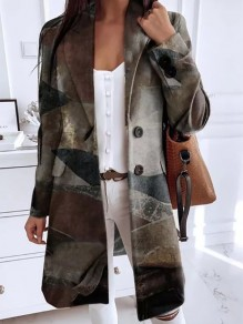 Grey Floral Buttons Pockets Turndown Collar Going out Wool Coat