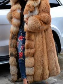 Brown Patchwork Plus Size Hooded Going out Fur Coat