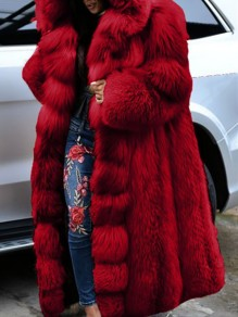 Red Patchwork Plus Size Hooded Going out Fur Coat