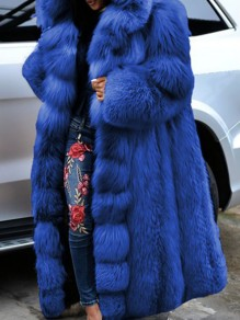Blue Patchwork Plus Size Hooded Going out Fur Coat