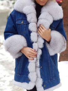 White Patchwork Buttons Pockets Plus Size Going out Fur Coat