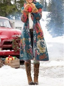 Blue Flowers Buttons Print Plus Size Hooded Fashion Coat