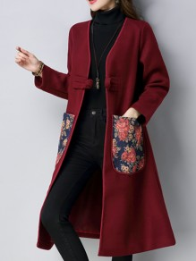 Red Flowers Print Pockets Long Sleeve Going out Wool Coat