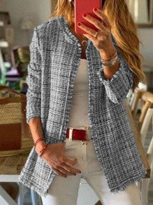 Grey Plaid Long Sleeve Round Neck Going out Jacket