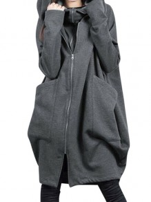 Grey Patchwork Zipper Pockets Plus Size Hooded Going out Jacket