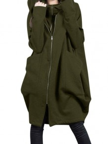 Green Patchwork Zipper Pockets Plus Size Hooded Going out Jacket