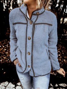 Blue Patchwork Buttons Long Sleeve Band Collar Fashion Jacket