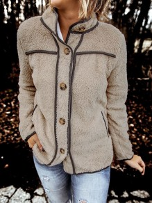 Camel Patchwork Buttons Long Sleeve Band Collar Fashion Jacket