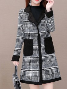 Black Plaid Pockets Turndown Collar Going out Wool Coat