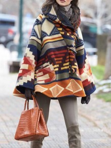 Multicolor Geometric Buttons Pockets Hooded Going out Wool Coat