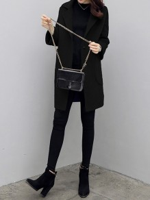 Black Patchwork Pockets Turndown Collar Going out Wool Coat