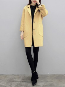 Yellow Patchwork Pockets Turndown Collar Going out Wool Coat