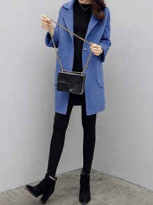 Blue Patchwork Pockets Turndown Collar Going out Wool Coat