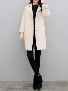 Beige Patchwork Pockets Turndown Collar Going out Wool Coat
