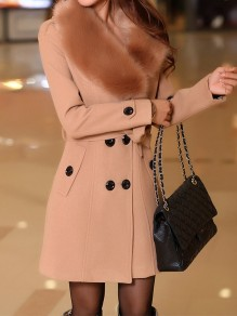 Camel Patchwork Buttons Plus Size Fur Collar Going out Wool Coat