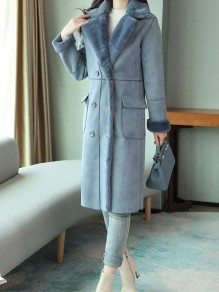 Blue Patchwork Buttons Pockets Turndown Collar Going out Jacket