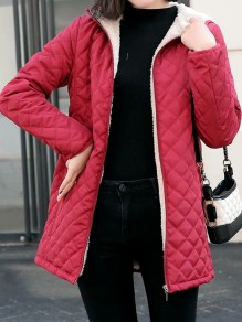 Red Patchwork Zipper Pockets Hooded Fashion Jacket